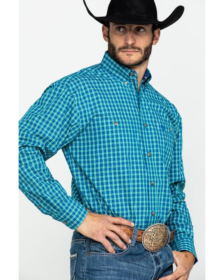 George Strait by Wrangler Men's Royal Blue Check Plaid Long Sleeve Western Shirt , Royal Blue, hi-res