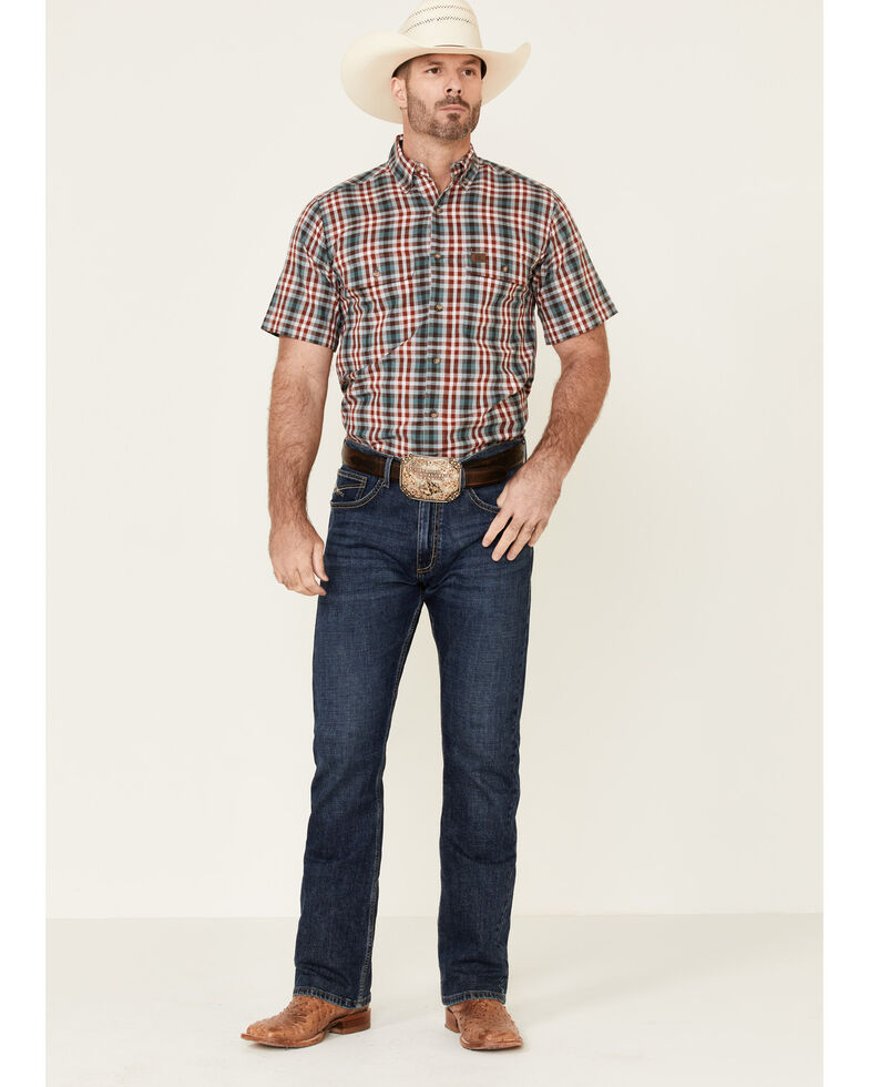 Wrangler Riggs Men's Red Foreman Plaid Short Sleeve Work Shirt , Red, hi-res