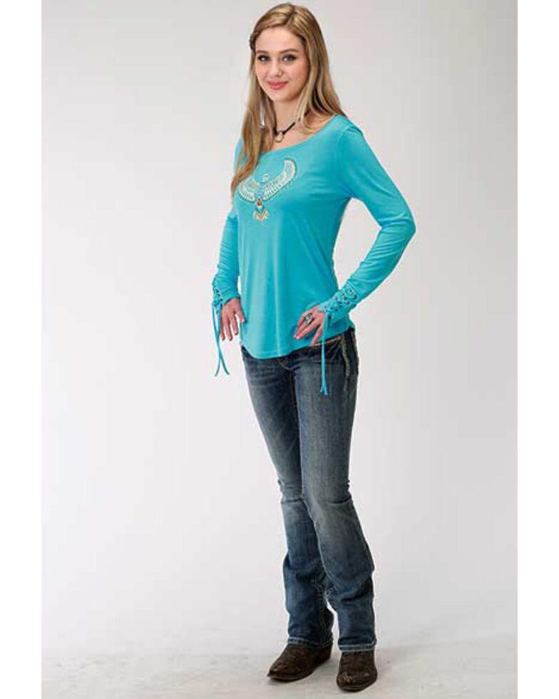 Five Star Women's Eagle Long Sleeve Top, Blue, hi-res