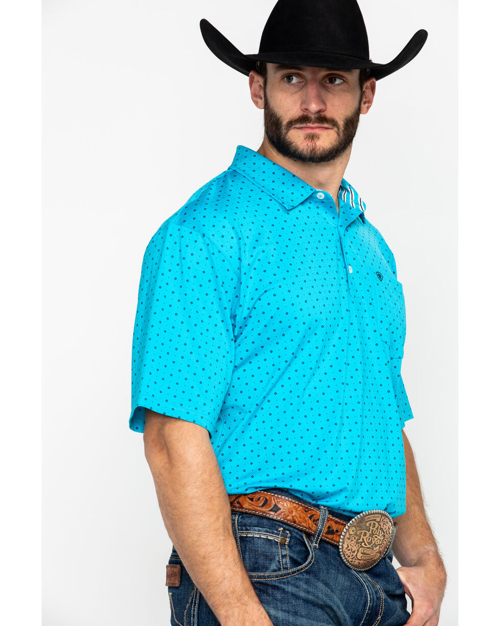 Ariat Men's Spray Print Short Sleeve Polo Shirt , Multi, hi-res