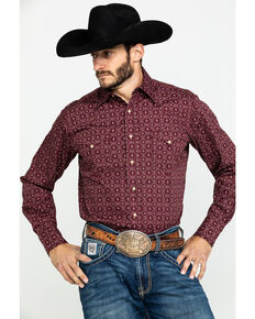 Roper Men's West Made Lattice Shadow Geo Print Long Sleeve Western Shirt , Red, hi-res