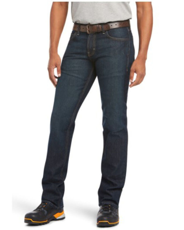 Ariat Men's M7 Rebar Durastretch Dark Basic Slim Straight Work Jeans, Indigo, hi-res
