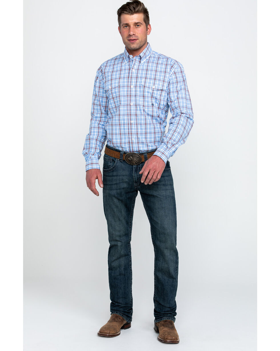 Roper Men's Blue Small Plaid Long Sleeve Western Shirt , Blue, hi-res