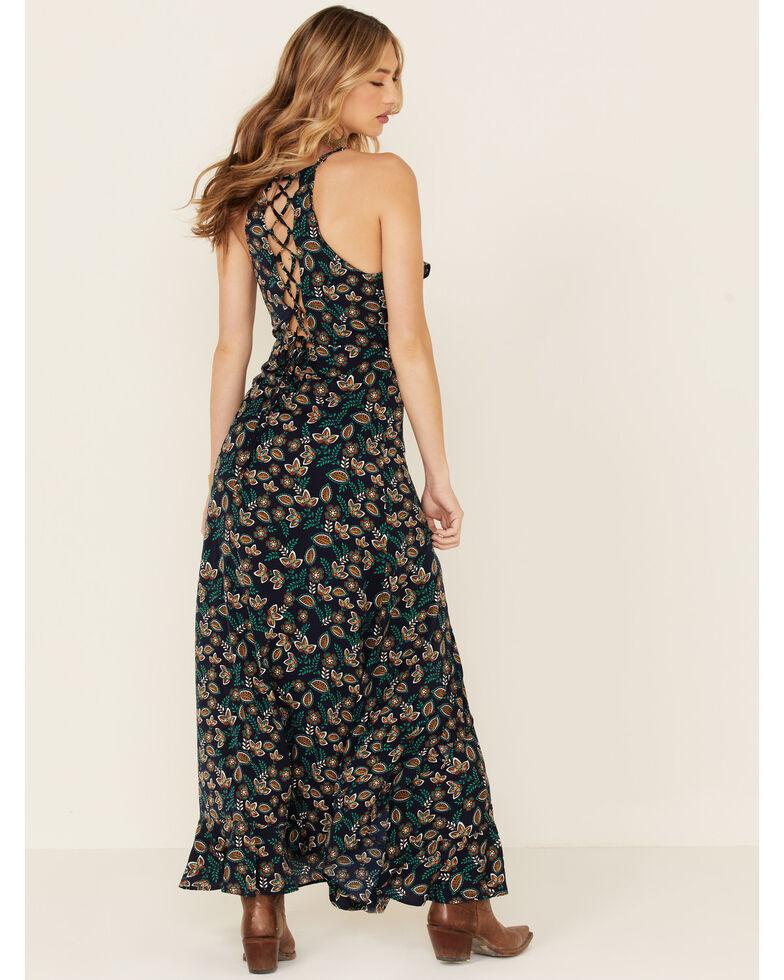 Molly Bracken Women's Floral Print Lace Maxi Dress, Navy, hi-res