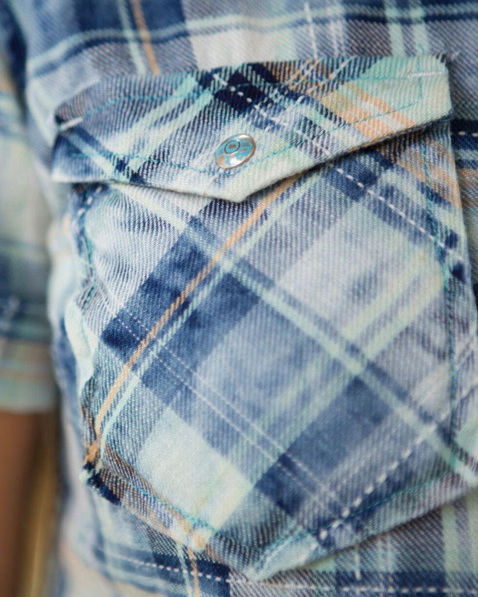 Ryan Michael Women's Split Back Plaid Shirt, Indigo, hi-res