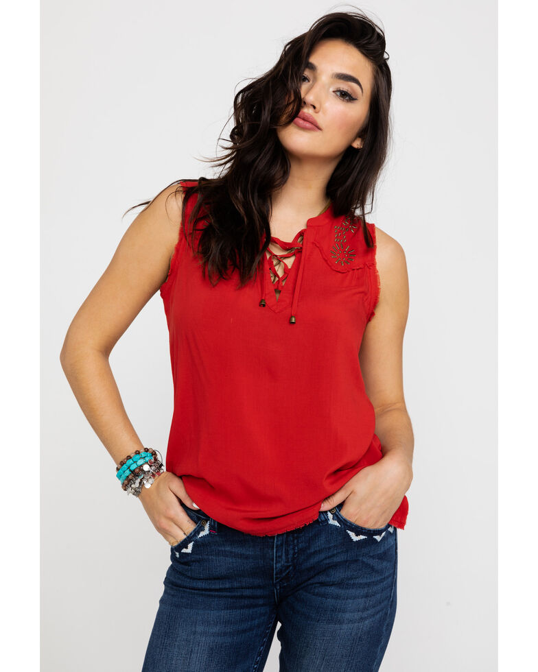 Idyllwind Women's Diamond In The Rough Woven Tank , Red, hi-res