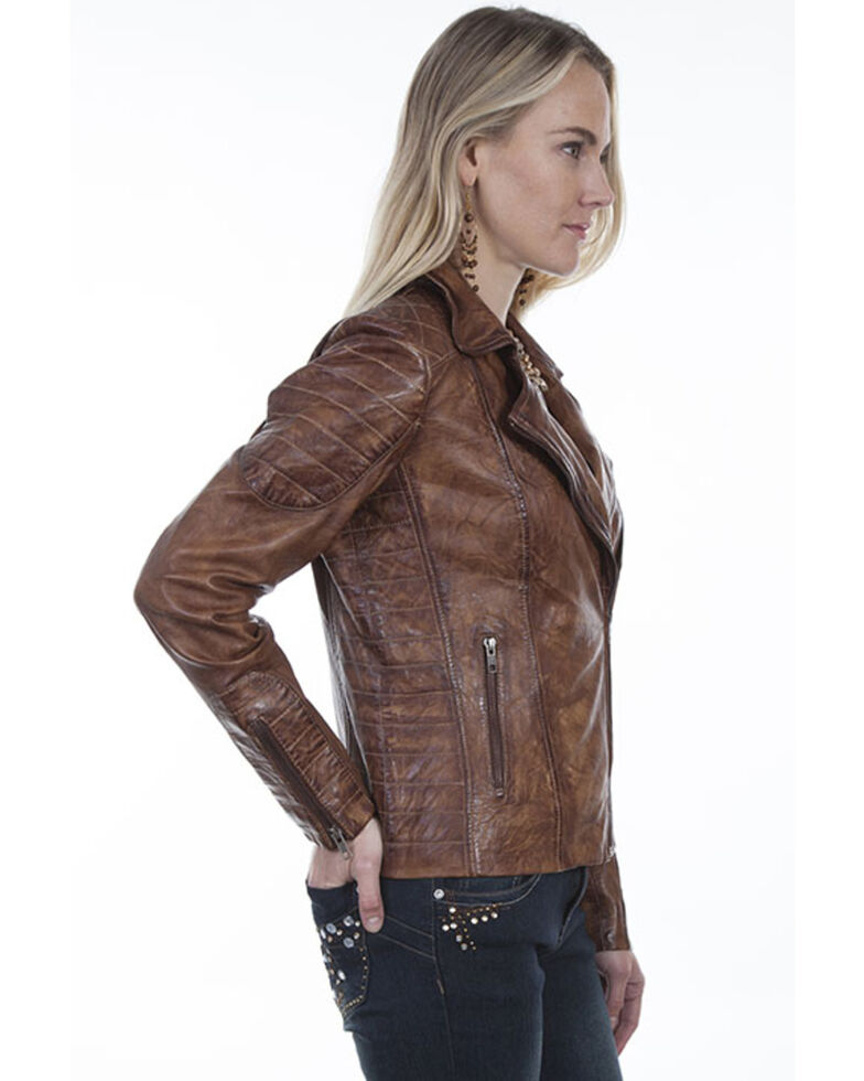 Leatherwear by Scully Women's Brown Cross Zip Moto Leather Jacket, Brown, hi-res