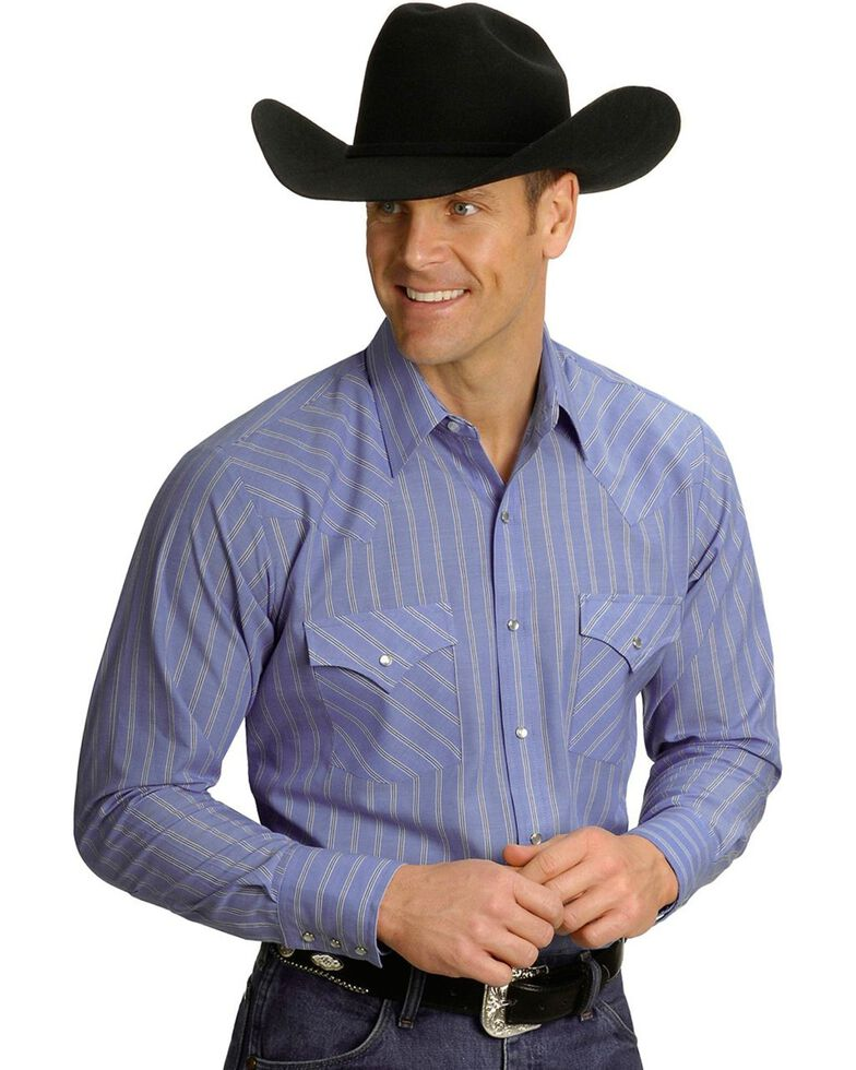 Ely Cattleman Men's Assorted Long Sleeve Western Shirt - Big & Tall, Stripe, hi-res