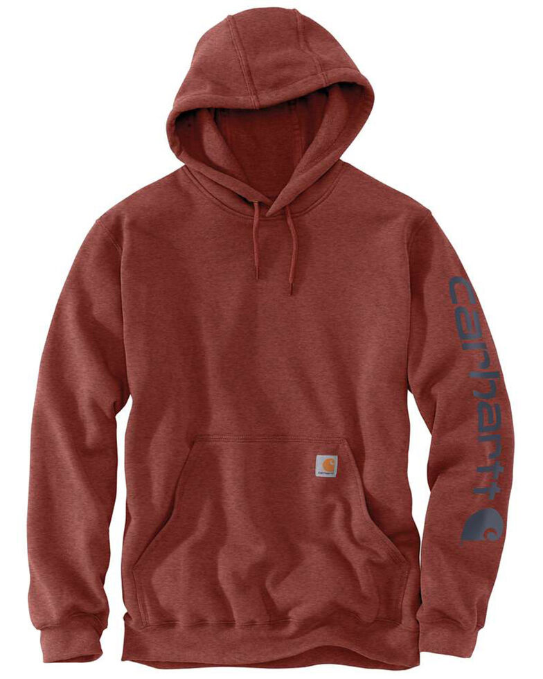 Carhartt Men's Mid Weight Hooded Logo Work Sweatshirt - Tall , Heather Red, hi-res