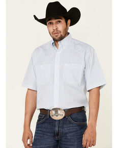George Strait By Wrangler Men's Small Geo Print Long Sleeve Button-Down Western Shirt - Tall , White, hi-res