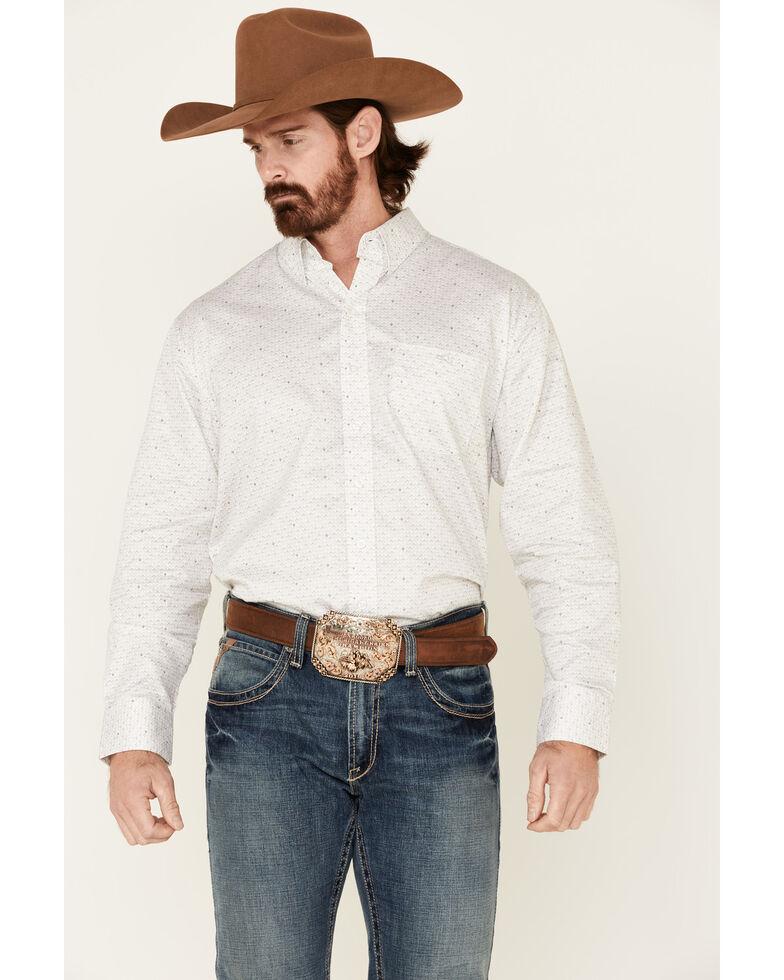 Resistol Men's White Rice Geo Print Long Sleeve Western Shirt , White, hi-res