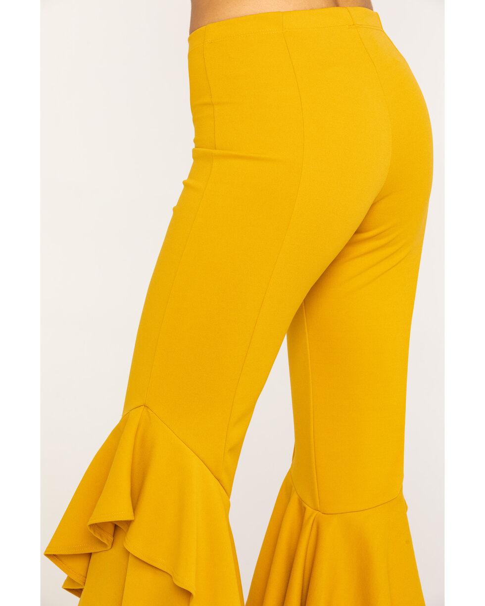 Rodeo Quincy Women's Mustard Ruffle Flare Pants, Yellow, hi-res