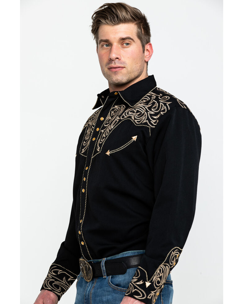 Scully Men's Black Embroidered Scroll Long Sleeve Western Shirt, Black, hi-res