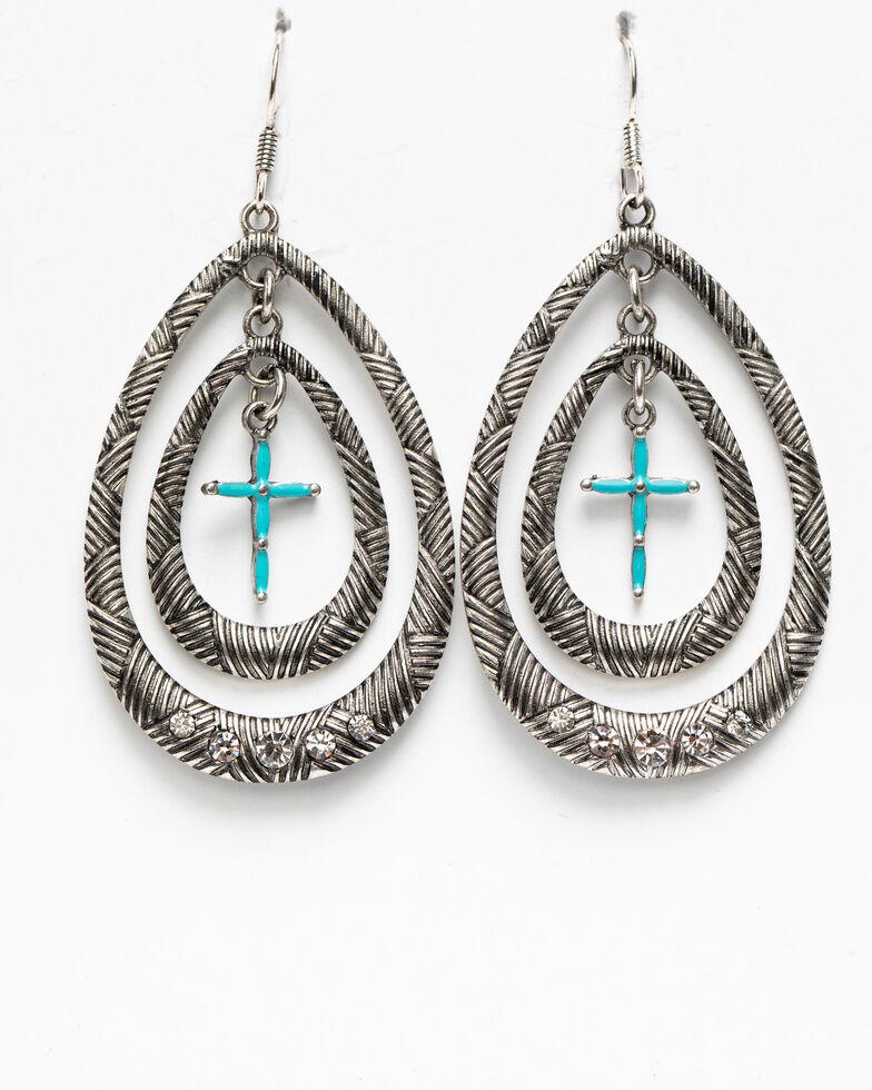 Shyanne Women's Blue Falls Mini Cross Hoop Earrings, Silver, hi-res