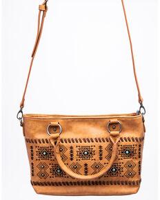 Shyanne Women's Harper Aztec Small Concho East/West Tote Handbag, Brown, hi-res