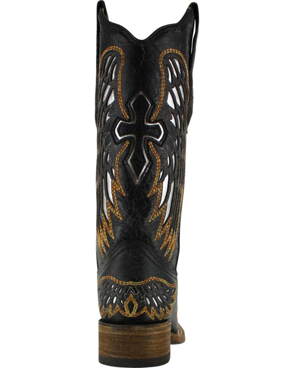 Corral Women's Gold and Silver Wing and Cross Western Boots - Square Toe, Black, hi-res