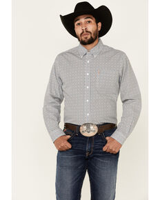Cinch Men's Modern Fit Cream Geo Print Long Sleeve Button-Down Western Shirt , Cream, hi-res