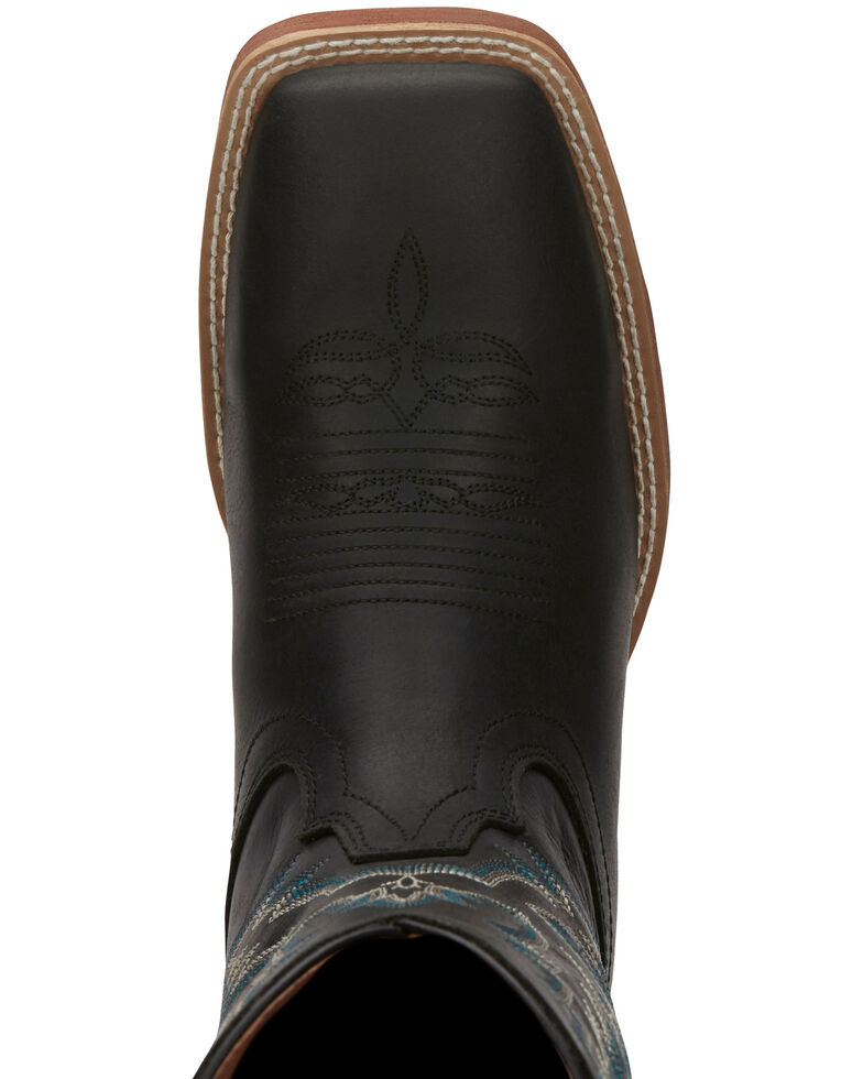 Justin Men's Tallyman Black Western Boots - Wide Square Toe, Black, hi-res