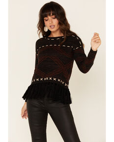 Shyanne Women's Charcoal Aztec Fringe Pullover Sweater , Charcoal, hi-res
