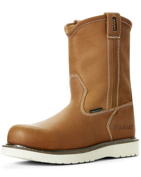 Ariat Men's Rebar Wedge Full-Grain Leather Work Boots - Composite Toe, Tan, hi-res