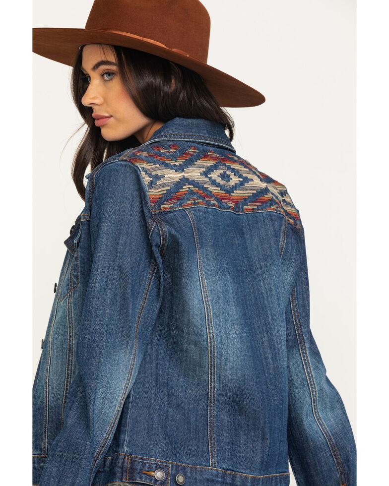 Stetson Women's Serape Back Denim Jacket, Blue, hi-res