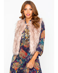 BB Dakota Women's Faux Fur Vest, Mauve, hi-res
