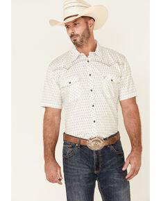 Cowboy Hardware Men's White Dash Diamond Geo Print Short Sleeve Snap Western Shirt , White, hi-res