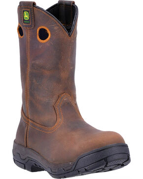 John Deere Men's WCT Removable Insert Work Boots - Alloy Toe , Brown, hi-res