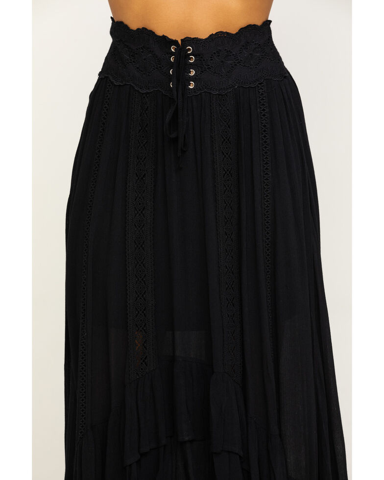 Shyanne Women's Black Lace Trim Maxi Skirt , Black, hi-res