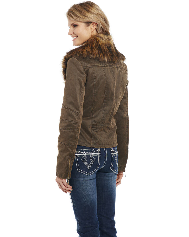 Cripple Creek Women's Concealed Carry Faux Fur Jacket, Chocolate, hi-res