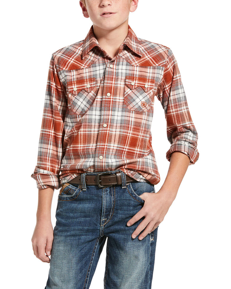 Ariat Boys' Hadden Retro Plaid Long Sleeve Western Shirt , Orange, hi-res