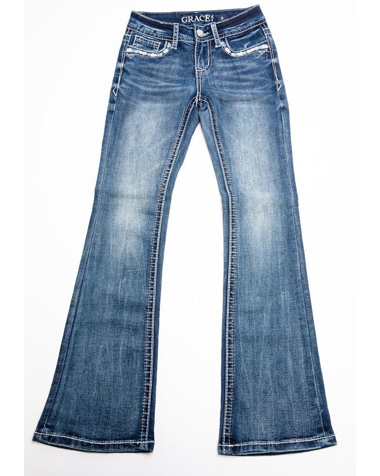 Grace in LA Girls' Bootcut Decorative Jeans , Blue, hi-res