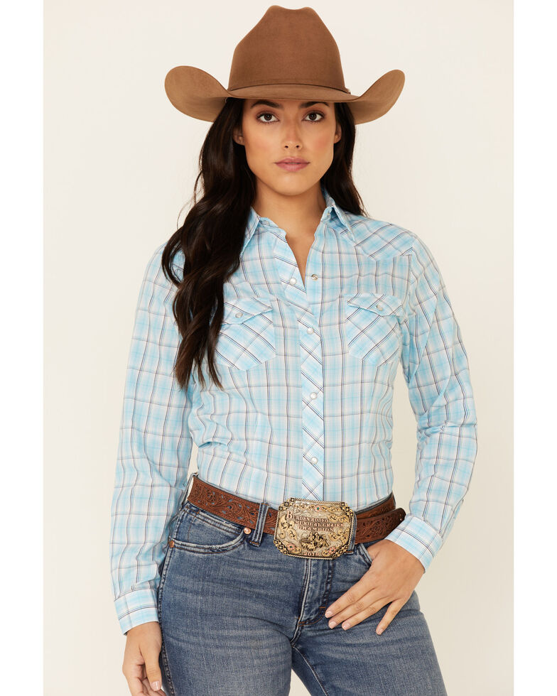 Roper Women's Turquoise Plaid Long Sleeve Snap Western Core Shirt , Turquoise, hi-res