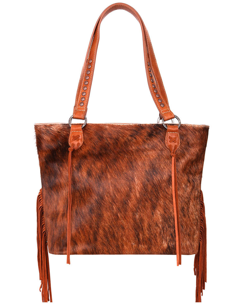 Trinity Ranch Women's Southwestern Fringe Tote Bag, Brown, hi-res