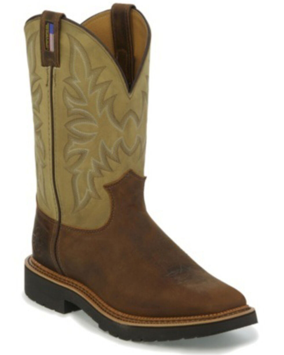 Justin Men's Scottsbluff Western Work Boots - Soft Toe, Tan, hi-res