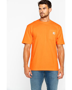 Carhartt Men's Orange Workwear Pocket Short Sleeve T-Shirt, Heather Orange, hi-res