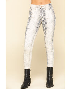 Shyanne Women's Python Print Skinny Jeans , Black/white, hi-res