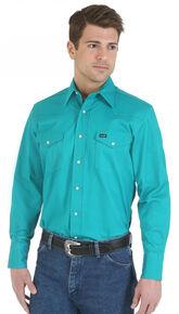 Wrangler Men's Solid Advanced Comfort Long Sleeve Work Shirt, Turquoise, hi-res