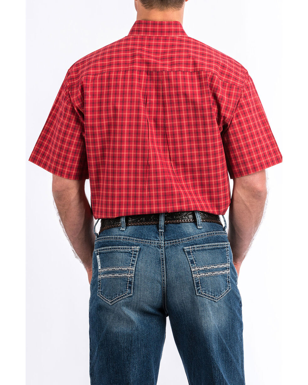 Cinch Men's Red Plaid Short Sleeve Western Shirt - Big , Red, hi-res