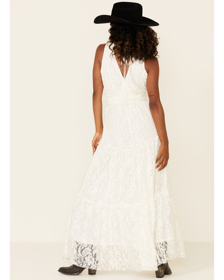 Flying Tomato Women's Off White Lace Maxi Dress, Off White, hi-res