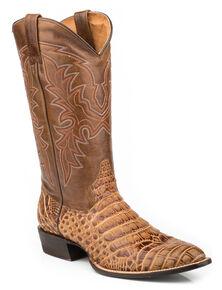 Roper Men's Faux Caiman & Mad Dog Cowboy Boots - Medium Toe, Tan, hi-res