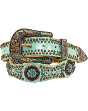 Nocona Women's Scallop Round Concho Studded Belt, Light Blue, hi-res