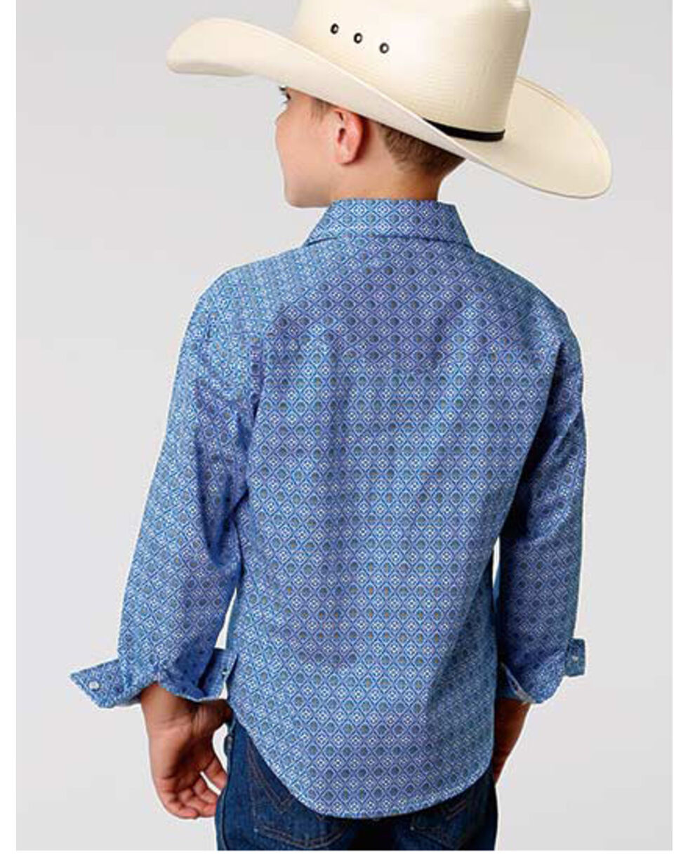 Roper Boys' Amarillo Blue Geo Print Long Sleeve Western Shirt , Blue, hi-res