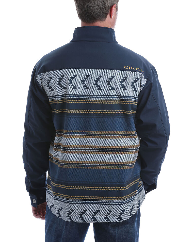 Cinch Men's Navy Aztec Color Blocked Bonded Jacket , Navy, hi-res