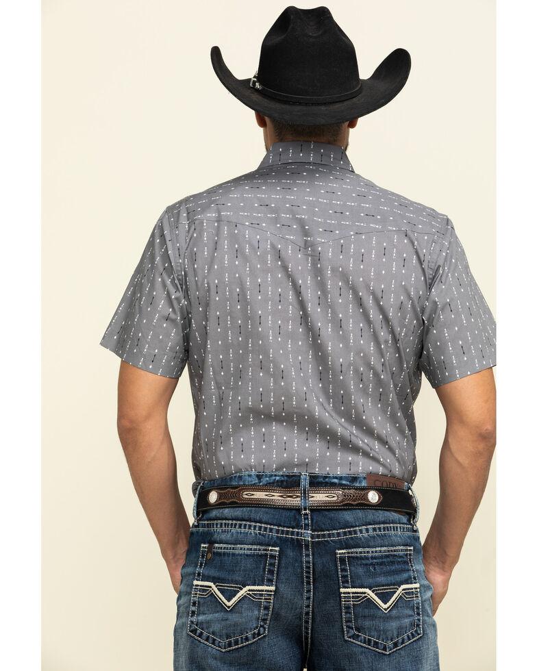 Roper Men's North & South Aztec Striped Short Sleeve Western Shirt , Grey, hi-res
