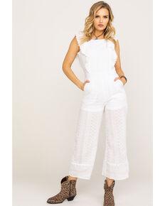 928d9f84542129 Polagram Women's White Ruffle Wide Leg Jumpsuit