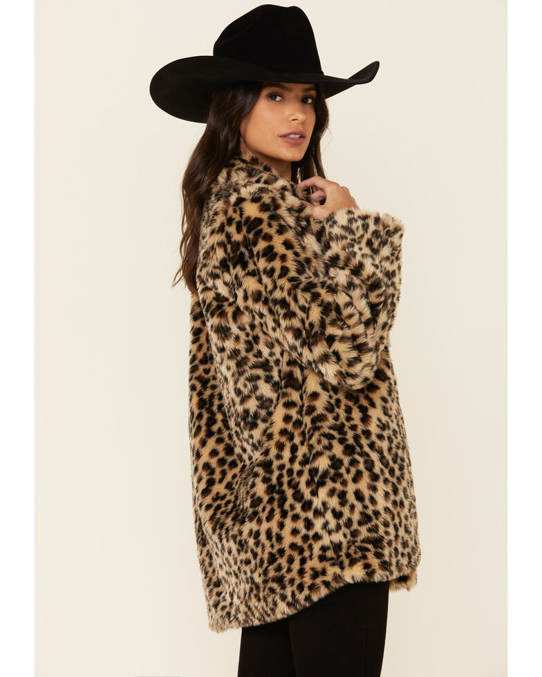 Angie Women's Tan Leopard Coat , Tan, hi-res