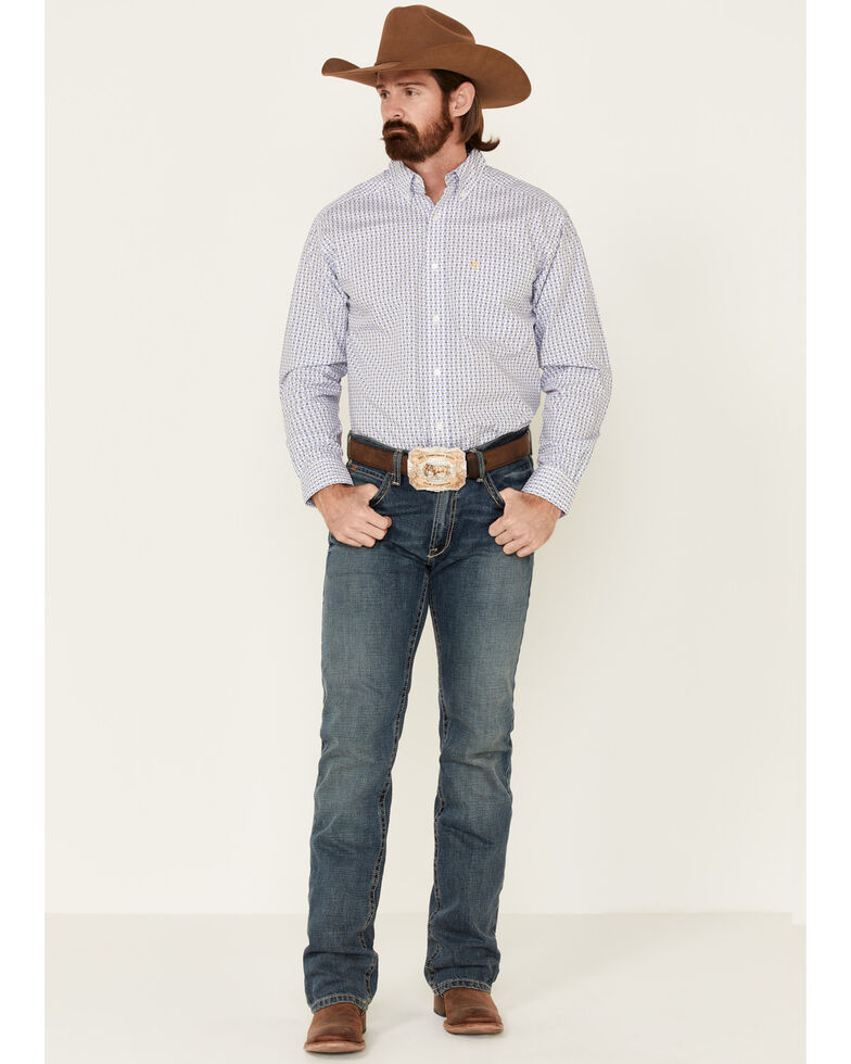 Ariat Men's Bane Geo Print Long Sleeve Button-Down Western Shirt - Big, White, hi-res