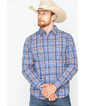 Wrangler Retro Men's Paisley Plaid Long Sleeve Snap Shirt, Blue, hi-res