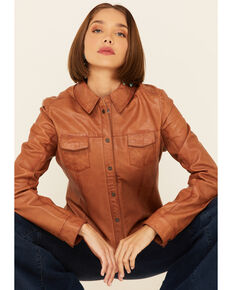 Scully Women's Rich Lamb Lined Snap-Front Leather Shirt Jacket , Cognac, hi-res